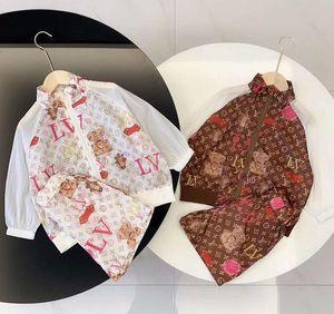 A05-Mädchen-Jungen-Klage-T-Shirt Top neuen Frühling Sommerkleidung weibliche Babymode Tooling T-Shirt + pants zweiteilige Anzug