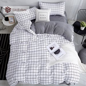 Liv-Esthete الموضة الكلاسيكية Black Grid Bedding Set Double Queen King Bed Linen Soft Duvet Pillowcase Flat For Adult T200108