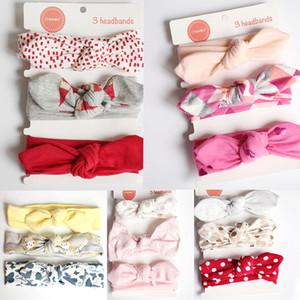 20 Stiller Kız bebekler Tavşan kulakları Bantlar Bow Tie Çiçek Saç Bantları Yumuşak Pamuk Tavşan Sevimli Kafa 3pcs / set Çocuklar Saç Aksesuarları M473