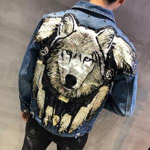 Nouveau 2019 style punk nouveaux Loup brodé Rivet Jeans Veste Homme Denim Vestes Streetwear Slim Jeans Veste