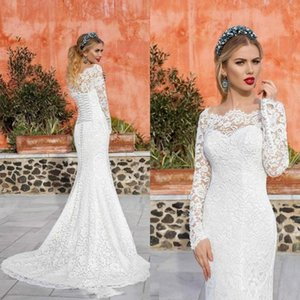 2020 Country Weddign Dresses Mermaid Bateau Long Sleeve Sweep Train Bridal Gowns With Full Lace Plus Size Wedding Gowns For Garden
