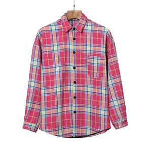 2020er plam icon Hochwertige hohe Auflage Plaid Shirt Palme englischen Alphabets Druck Revers lange Hülse Engel Shirt Herbst S-XL qwdzzg3Ew #