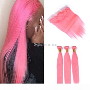 Indian Pink Virgin fasci di capelli con frontale chiusura diritta serica di colore rosa chiaro dei capelli umani Weave Fasci e Pizzo frontale Chiusura