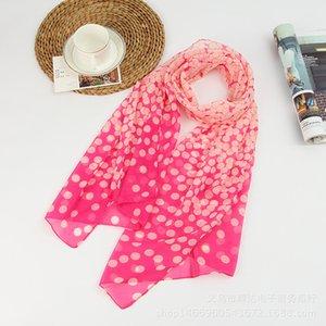 Летний стиль Длинной женщины Шелковые шарфы 50 * 160см Дизайнер полька печати Женского Летние Sheer шарфов