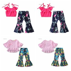 Baby Flamingo Outfit T Shirts Flares Pants 2pcs set Summer Kids Floral Printed Tops Pant Clothing Sets OOA7053