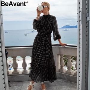BeAvant Polka Dot femmes robe automne hiver rouge manches lanterne élégante robes longues fête dames noires Ruffle o-cou vestidos