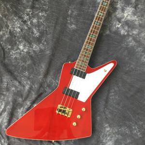 2020 üretici özel 4-dize kırmızı elektrikli bas bas gitar, gülağacı klavye, altın donanım, klavye renk kabuk inla