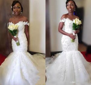2020 Плюс Размер Mermaid Африканский Свадебные платья Off-Плечи Vintage Lace 3D-Цветочные Черные девушки Нигерия Arabic Страна Пляж Свадебные платья
