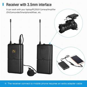 UHF micro sans fil Lavalier Récepteurs système Microphone Lavalier émetteur pour caméscopes appareils photo reflex Smartphones
