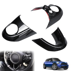 3Pcs Steeing Wheel Decorative Sticker Carbon Fiber Style Steeing Wheel Covers Automotive Interior Sticker Cover for MINI Cooper