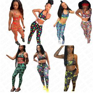 2020 Summer Designer Designer Costumi da bagno Bra e leggings Pantaloni 2 pezzi Costume da bagno Lettere Fiori floreali Fiori Crwon Design Print Beachwear Ploth D61705