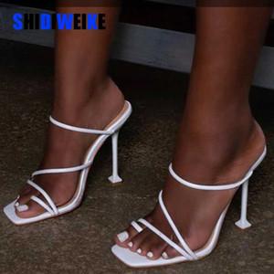 Weiße schwarze Schlangendruck Riemchen mule Fersen Pantoffel Frauen High Heels Flip-Flops Karree Dias Parteischuhe neue AB091