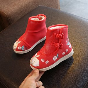 Cloth Boots Baby Girls Kids Shoes with Embroidery Keep Warm Child ankle Boots Folk-custom autumn Snow Shoes ST021