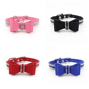 4 style double-layer pet bow collar soft and comfortablepet pet necklace dog chain pet supplies Dog Collars T2I5928