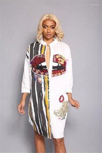 Robe Rue Femmes Big Mouth Imprimer Paillettes Robe chemise à manches longues Casual Robe à rayures Crayon Mode Bouton