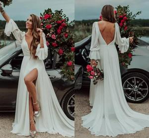 2020 Sexy Bohemain Tiefer V-Ausschnitt Brautkleid Langarm-Split eine Linie Chiffon- Strand-Brautkleid Plus Size nach Maß