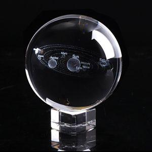 2019 New 6cm 3D Solar System Globe Crystal Ball LED light Base Model Sphere Glass Ball Home Decor Gift Item