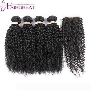 pelucas Brazilian Curly Virgin Hair With 4*4 Lace Closure Brazilian Kinky Curly Weave With Closure 3Bundles Brazilian Virgin Hair With Lace