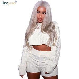 Haoyuan 2018 Herbst-Winter-Frauen Zweiteiler Sexy Club-Outfits Pullover Top Und Biker Shorts Strick Klage-Kleidung Passende Produkte