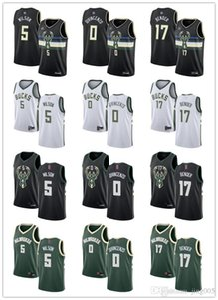 MensWomensYouthMilwaukeeBucks5 D. J. Wilson 0 Donte DiVincenzo 17 Dragan Bender Black green white custom BasketballJerseys