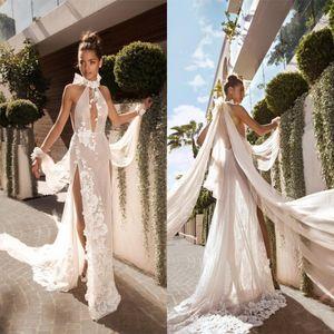2020 Sexy Juli Vino Русалка Split Side Свадебные платья Кихол Neck Backless Boho пляж Свадебные платья плюс размер Backless свадебное платье