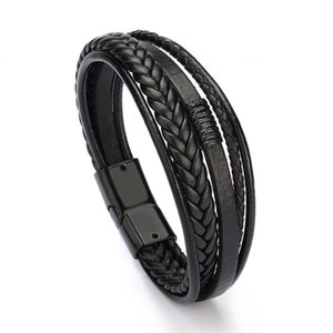 l'or mens bijoux design de luxe pour hommes bracelets en cuir à la main bracelet boucle aimant bracelet bijoux en gros