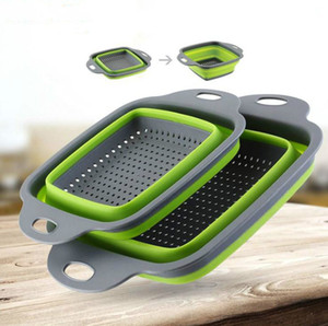 Square foldable kitchen vegetable drain basket, retractable kitchen supplies for convenient storage, outdoor camping portable drain basket