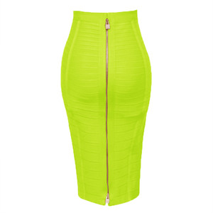 13 Colors Plus Size XL XXL 58cm Women Sexy Zipper Black Blue Orange Red Rayon Bandage Skirt Designer A Line Skirt Faldas Y200704