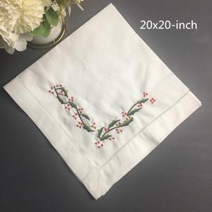 مجموعة من 12 منسوجات منزلية الجدول منديل الكتان عشاء المناديل مع اللون مطرز الزهور الزفاف المناديل 20X20 بوصة