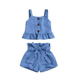 Hot sale 2020 Ins denim baby girls suits Summer Toddler sets Tank Tops+Shorts 2pcs set baby girl designer clothes girls clothes B954
