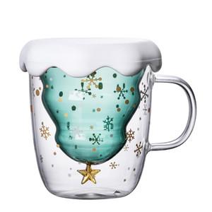 Arbre de Noël tasse de verre tasse thermique résistant à la chaleur double couche lunettes bottes petit déjeuner laiton tasse personnalisée buvette tasse cadeau gga2689
