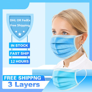 Masques bouche anti-poussière Masque Masque à usage unique filtre 3-laye Anti-poussière Tissu Meltblown 3-Ply Masques Masques earloops non-tissés DMMASK