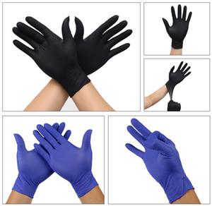 Em estoque! Descartáveis preto azuis Luvas Luvas tatuagem de látex de protecção de borracha nitrílica Luvas 100pcs / lot XS ~ XL 5size 5colors