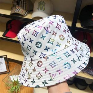 Paño de lujo mezclado letras clásicas con la correa de cuero de moda del sombrero del cubo plegable plegable Cap Caps capaces de lujo Pescador Playa parasol