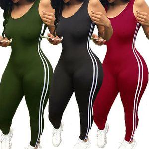 2020 New Bodysuits Women Romper Women Striped Tight Romper One Piece Leggings Pants Jumpsuit Athletic