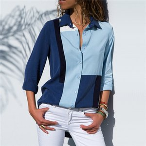 European and American models casual fashion contrast color stitching chiffon shirt female long-sleeved solid color shirt