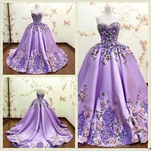 Luxus Lila Ballkleid Abendkleider 3D-Blumen Appliques Blumen-Spitze-formalen Abschlussball-Kleid-Schatz-Sleeveless lange Partei-Kleid