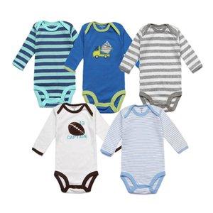 5 unidades / lote Baby Boy Bodysuits impressão dos desenhos animados listrados recém-nascidos Vestuário manga comprida Bebés Meninos Jumpsuits Meninos Verão Onesie