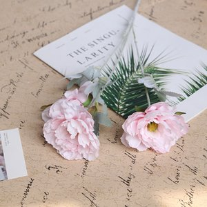 10Pcs lot Simulation 3 Heads Peony Silk Flower Fall Decorations for Home Wedding Arch Road Guide Artificial Flowers Wreath Lotus