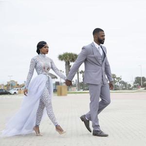 Plus Size 2019 combis Robes de Mariée avec Amovible Train à grande cou à manches longues robe de mariée perlée africaine Robes de mariée