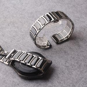 Acero inoxidable de cerámica bandas correa de reloj más fino reloj de manera elegante reloj pulsera para Samsung S3 engranaje Frontier 22 mm bandas de plata Negro
