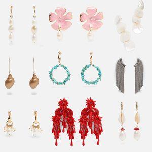 Flatfoosie New Design Simulated Pearl Big Dangle Earrings For Women 2019 Trendy Bohemian Geometric Statement Earrings Jewelry
