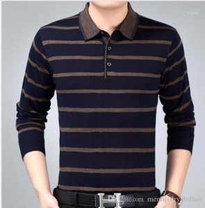 Tops diseñador de polo de la camiseta del resorte del otoño de Empresas en masculino con bandas de tejidos polos de la manera Padre Ropa de Hombre