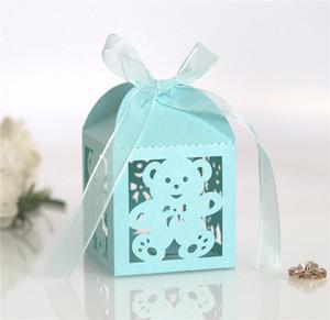 100pcs Bear Wedding Candy Boxes Box I detentori del favore del design con rifornimento del nastro a Baby Shower Birthday Party Scatole squisite