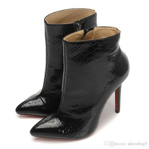 Pointed high-heeled ankle boots stiletto fashion boots new fashion women's shoes patent leather high-end quality Martin boots