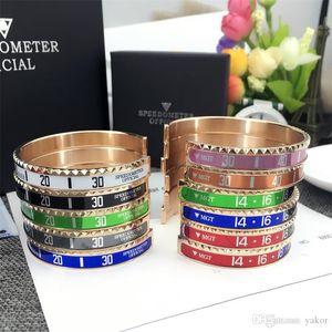 18 Karat Rose vergoldet Männer Frauen Edelstahl Manschette Bangle Luxusuhr Stil Tachometer Offizielle Handtasche Box Set Armband