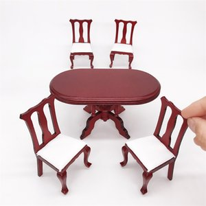 HIINST دمية محاكاة 01:12 مصغرة الأثاث الخشبي الأحمر اللون تناول الطعام الجدول كرسي مجموعة DIY بيت الدمية الديكور لعب الاطفال Y200428