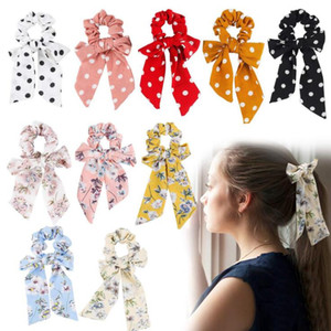 INS Chiffon Summer Bright Rose Floral Hair Scrunchies Accessori donna Fasce per capelli Cravatte Ponytail Holder Gomma corda Decorazione lunga Bowknot