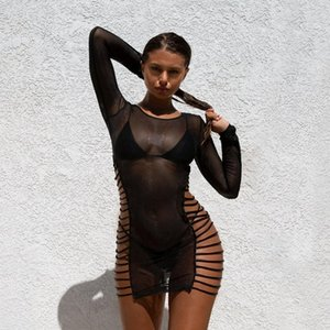 BKLD Summer Sheer Mesh Bodycon Dress Sexy Long Sleeve Bandage Hollow Dresses Fishnet See Through Club Wear Mini Dress Y200418