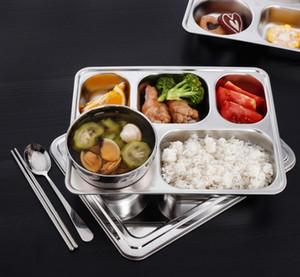 Divisé en acier inoxydable alimentaire Plateau Snack Dîner Plate Compartments School Restaurant Plate Snack Cuisine Contenant à Lunch Box GGA3471